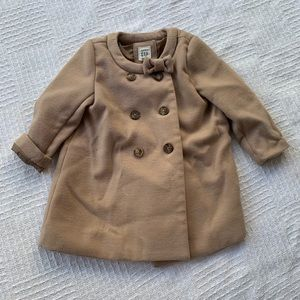 BABY GAP baby girl size 18-24 M tan coat with bow